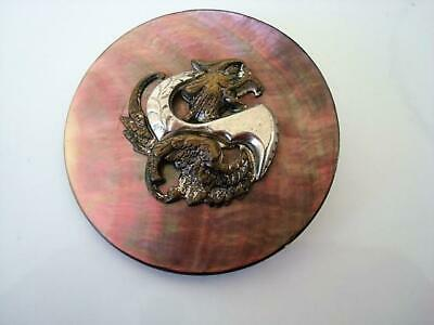 Antique Iridescent Gray Mother of Pearl Shell Button With Brass Dragon OME 2 In