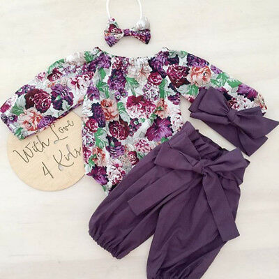 Newborn Kids Baby Girl Floral Tops Romper Pants Headband Outfit Clothes 3PCS Set