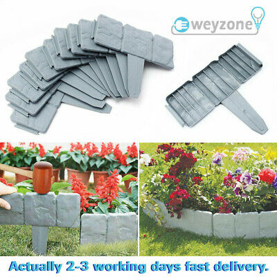 40 Garden Lawn Cobbled Stone Effect Plastic Edging Plant Border Simply Hammer In