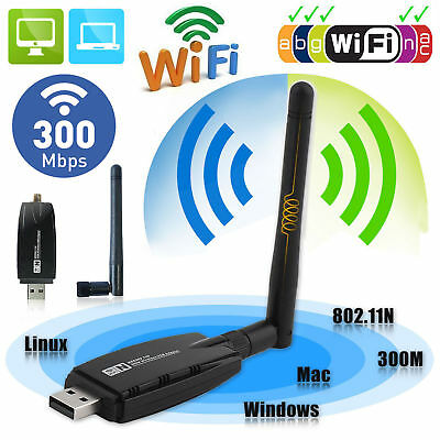 300Mbps USB Wireless Network Card Desktop Computer Wifi Receiver Black
