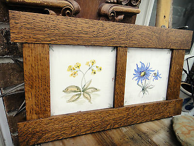 Vintage double tile ARTS & CRAFTS  OAK / MISSION  PICTURE FRAME floral tile