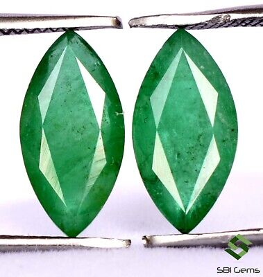 2.83 Cts Natural Emerald Marquise Cut Pair 11x5.50 mm Certified Faceted Gemstone
