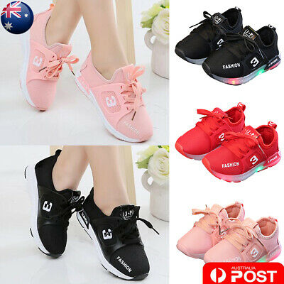 Baby Kid Boy Girl Casual Sports Trainers Sneaker LED Luminous Flat Shoes AU Post