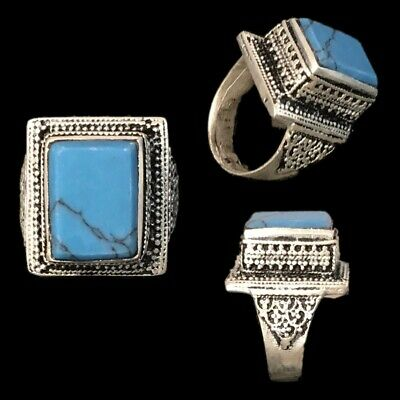 Stunning Top Quality Post Medieval Silver Ring With A Blue Stone (3)