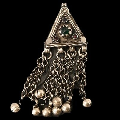 Ancient Silver Decorative Gandhara Bedouin Pendant With Mixed Stone 300 B.C (3)