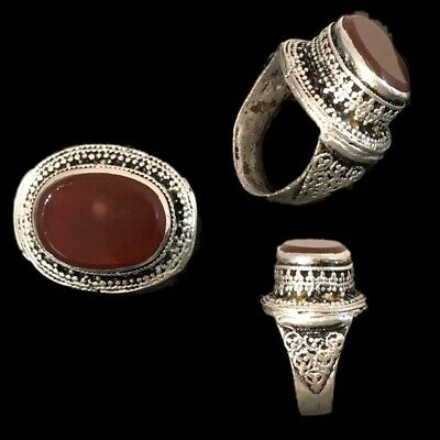 Stunning Top Quality Post Medieval Silver Ring With A Carnelian Stone (4)