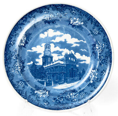 Antique Minton Pottery Blue & White Transfer Printed  Plate - Christ Church USA