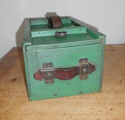 Vintage Painted Pine Shoe Cleaning Box~Sliding Lid~Leather Handles~Shelf Inside