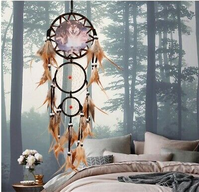 Wolf Head Painted Dream Catcher  Feather Handmade Wall Hang Home Decor Catchers