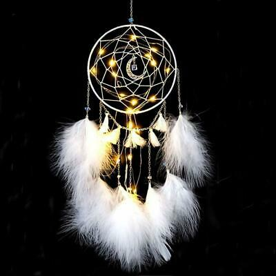 LED Dream Catcher Moon Crystal White Feather Native American Wall Decor Catchers