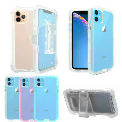 For iPhone 11 Pro Max Heavy Duty Transparent Phone Case Cover +Belt Clip Holster