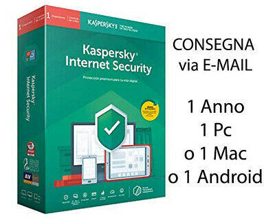 Kaspersky Internet Security 2019 2020 1 Anno 1 pc licenza elettronica originale