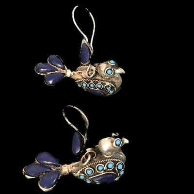 VERY RARE GANDHARA ANCIENT SILVER BIRD EARRINGS WITH LAPIZ STONE (Large Size)