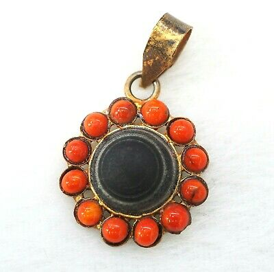 Splendid Ancient natural Goat Eye Agate Bead Amulet Red Coral Silver Pendant