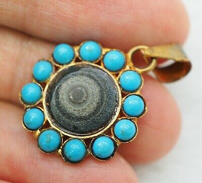 Splendid Ancient natural Goat Eye Agate Bead Amulet Sterling Silver Pendant