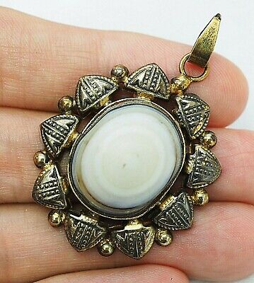 Splendid Ancient natural Goat White Eye Agate Bead Amulet Gold Silver Pendant