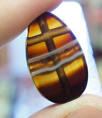 Original Old Meso Gorgeous Stunning Layered Bee Stripe Banded Agate  Bead