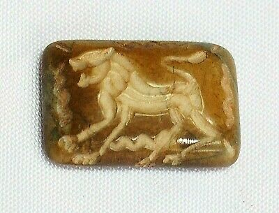 Antique Agate Intaglio Roaring Fierce Tiger Stone Seal bead