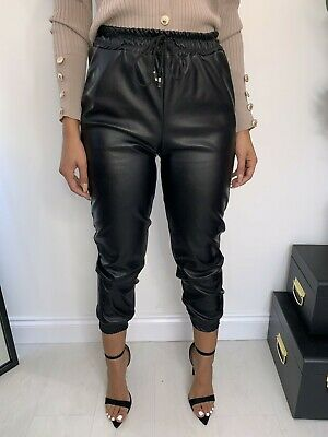 Calina Wet Look PU PVC Shiny Paper Bag Faux Leather Look Trousers Pant Joggers