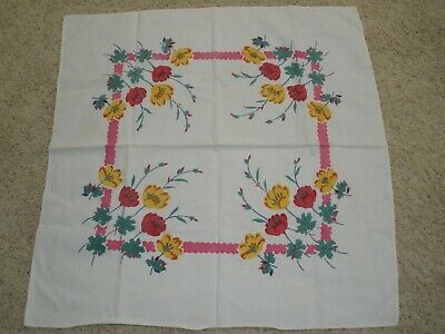 Vintage Cotton Floral Square Tablecloth, Some Stains