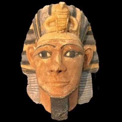 EGYPTIAN PHAROAH BUST STATUE, LATE PERIOD 664 - 332 BC (2) Large Over 10 Cm