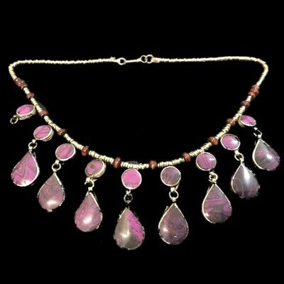 Rare Ancient Purple Stone Pendant Necklace  300 B.c 17 Stones! (3)
