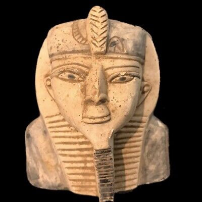 EGYPTIAN PHAROAH BUST STATUE, LATE PERIOD 664 - 332 BC (3) Large Over 14 Cm