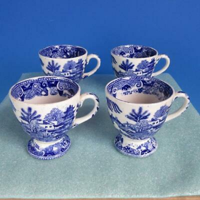 Early Blue Willow Butterfly Pattern - 4 Footed Punch Cups
