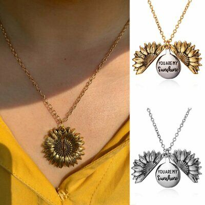 You Are My Sunshine Open Sunflower Pendant Necklace Personality Jewelry Gifts