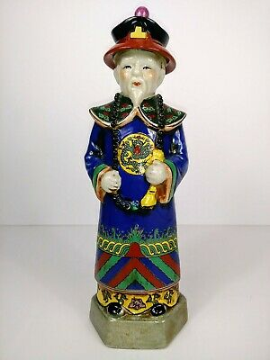 Vintage Standing Chinese Man Porcelain Famille Rose Figurine From Republic