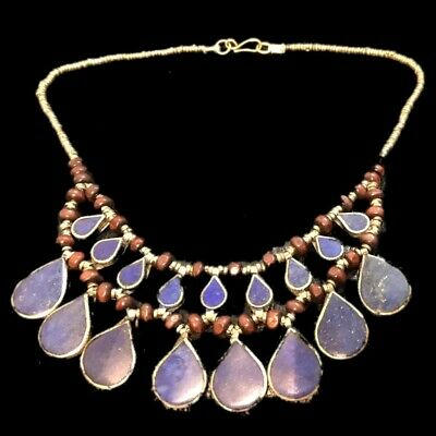 Rare Ancient Lapiz Stone Pendant Necklace  300 B.c 17 Stones! (5)