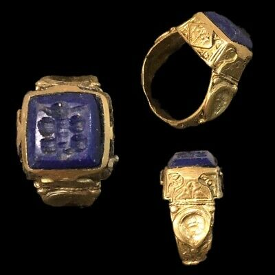 Stunning Top Quality Lapiz Intaglio Seal Stone Ring (4)