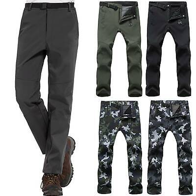Men Soft Shell Outdoor Trousers Thick Fleece Hiking Spots Ski Pants Waterproof