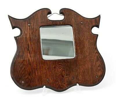 Antique Oak Wood Framed Art Nouveau Shield or Angle Wing Hall Mirror c1905
