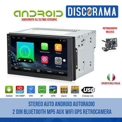 Stereo Auto Android Autoradio 2 Din Bluetooth Usb Mp5 Aux Wifi Gps Retrocamera