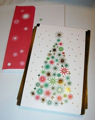 14 Christmas Cards & ENVELOPES HOLIDAY GREETING HALLMARK MID CENTURY MODERN 5X7