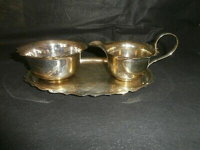 VINTAGE SILVER PLATED SUGAR BOWL & CREAM JUG with TRAY, EPNS