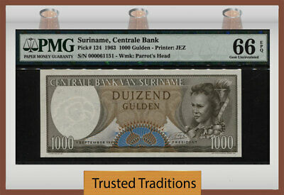SURINAME   1000  GULDEN  1963    P 124  Uncirculated Banknotes