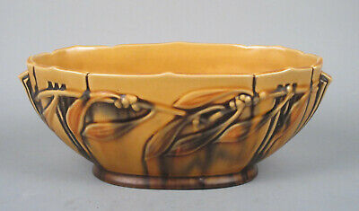 Roseville Pottery 1930s Art Deco Laurel Console Bowl, Drippy Bright Yellow