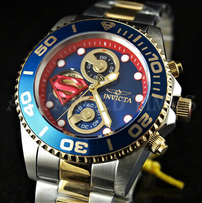 Invicta DC Comics SUPERMAN 43mm Blue Dial 18K Gold IP & Silver Two Tone SS Watch