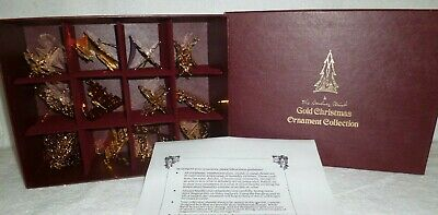 Danbury Mint 1984 Gold Christmas Ornaments Set of 12 with Box
