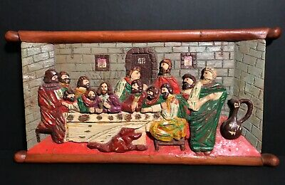 Naive Pennsylvania Folk Art Carved LAST SUPPER,signed Alex Marchukatis,c1940,Exc