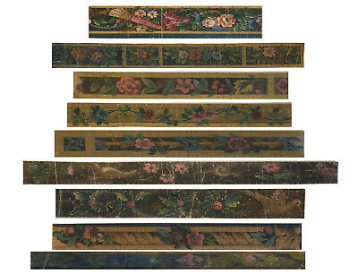 Nine(9)  Beautiful Antique 19th C. French Tapestry Border Painting  (8808)