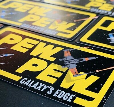 "Galaxy's Edge ""Pew-Pew"" Star Wars Poe X-Wing Fighter Car Magnet 5"" x 3"""