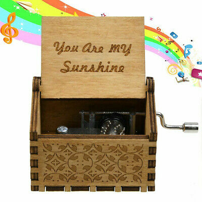 You Are My Sunshine Engraved Hand Crank Wooden Music Box Ornament Kids Toy Decor