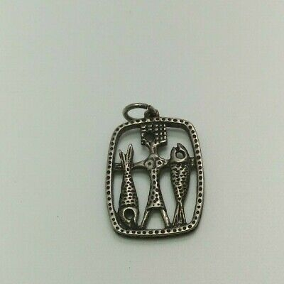 beautiful sterling silver pendant of the fish lucky with two fish