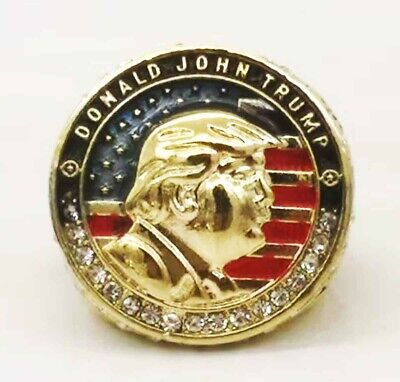 USA 45th President Donald Trump KEEP AMERICA GREAT Gold Ring with Box US Seller