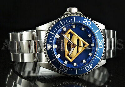 Invicta 44mm DC COMICS Superman Blue Dial All Silver Stainless Steel Watch NEW