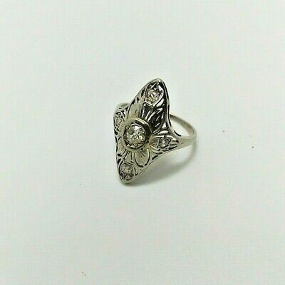 VINTAGE 14k white gold art deco women's ring set with old diamond circa 1930