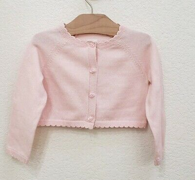 Baby Gap Girl Toddler Ribbed Crew Cardigan Sweater Light Pink Size 12-18 Months